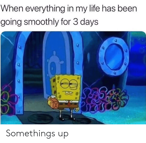 Life, Been, and For: When everything in my life has been  going smoothly for 3 days Somethings up