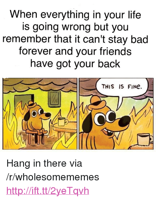 """got your back: When everything in your life  is going wrong but you  remember that it can't stay bad  forever and your friends  have got your back  THIS IS FINe  O0 <p>Hang in there via /r/wholesomememes <a href=""""http://ift.tt/2yeTqvh"""">http://ift.tt/2yeTqvh</a></p>"""