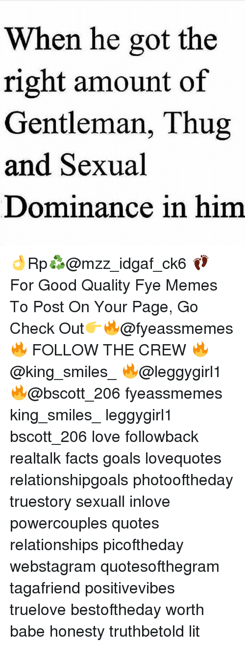 fye: When he got the  right amount of  Gentleman, Thug  and Sexual  Dominance in him 👌Rp♻@mzz_idgaf_ck6 👣 For Good Quality Fye Memes To Post On Your Page, Go Check Out👉🔥@fyeassmemes🔥 FOLLOW THE CREW 🔥@king_smiles_ 🔥@leggygirl1 🔥@bscott_206 fyeassmemes king_smiles_ leggygirl1 bscott_206 love followback realtalk facts goals lovequotes relationshipgoals photooftheday truestory sexuall inlove powercouples quotes relationships picoftheday webstagram quotesofthegram tagafriend positivevibes truelove bestoftheday worth babe honesty truthbetold lit