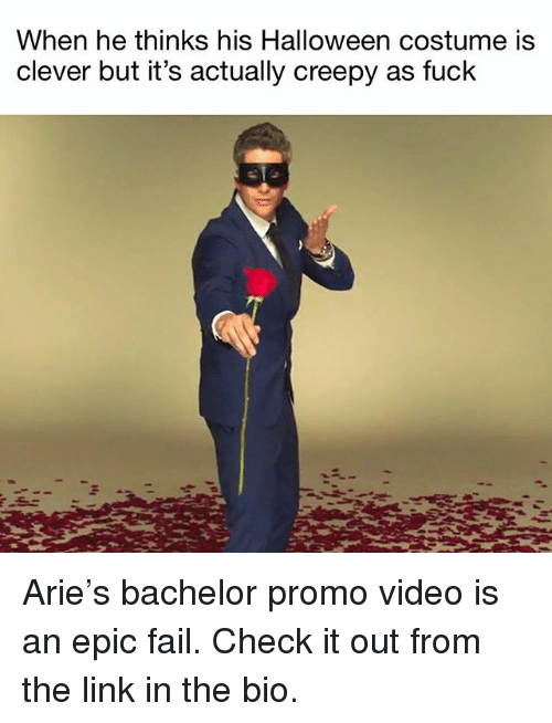 arie: When he thinks his Halloween costume is  clever but it's actually creepy as fuck Arie's bachelor promo video is an epic fail. Check it out from the link in the bio.