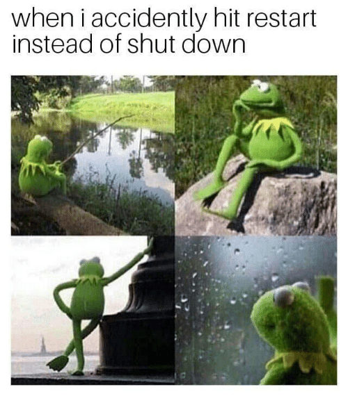accidently: when i accidently hit restart  instead of shut down
