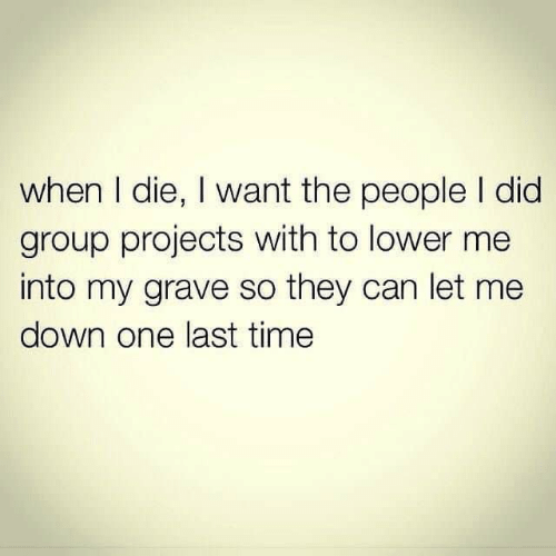 last time: when I die, I want the people I did  group projects with to lower me  into my grave so they can let me  down one last time