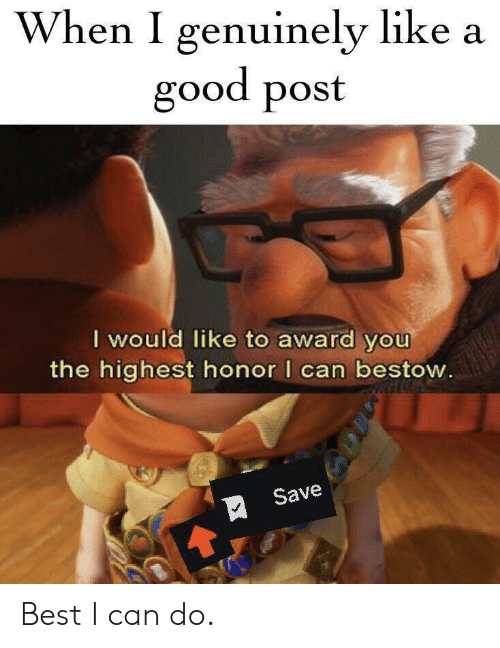 Best, Good, and Can: When I genuinely like a  good post  I would like to award you  the highest honor I can bestow.  Save Best I can do.