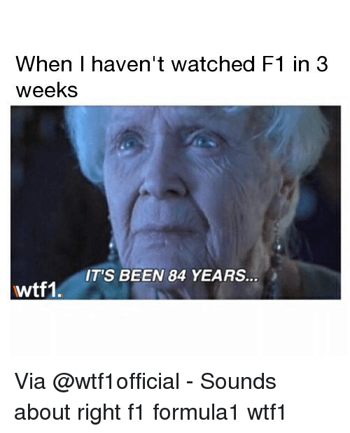 84 Years: When I haven't watched F1 in 3  weeks  IT'S BEEN 84 YEARS  wtf1, Via @wtf1official - Sounds about right f1 formula1 wtf1