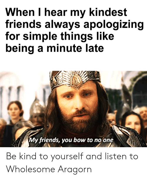 Aragorn: When I hear my kindest  friends always apologizing  for simple things like  being a minute late  My friends, you bow to no one Be kind to yourself and listen to Wholesome Aragorn