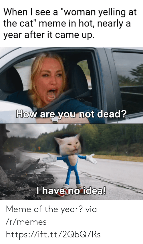 """Meme Of: When I see a """"woman yelling at  the cat"""" meme in hot, nearly a  year after it came up.  How are you not dead?  T have no idea! Meme of the year? via /r/memes https://ift.tt/2QbQ7Rs"""