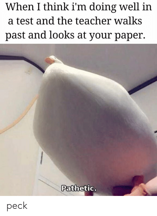 Teacher, Test, and Paper: When I think i'm doing well in  a test and the teacher walks  past and looks at your paper.  Pathetic. peck