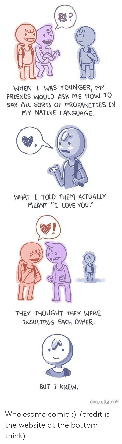 """Insulting: WHEN I WAS YOUNGER, MY  FRIENDS WOULD ASK ME HOW TO  SAY ALL sORTS OF PROFANETLES IN  MY NATIVE LANGUAGE.  WHAT L TOLD THEM ACTUALLY  MEANT """"I LOVE YOU.  THEY THOUGHT THEY WERE  INSULTING EACH OTHER  BUT 1 KNEW.  OWLTURD.CoM Wholesome comic :) (credit is the website at the bottom I think)"""