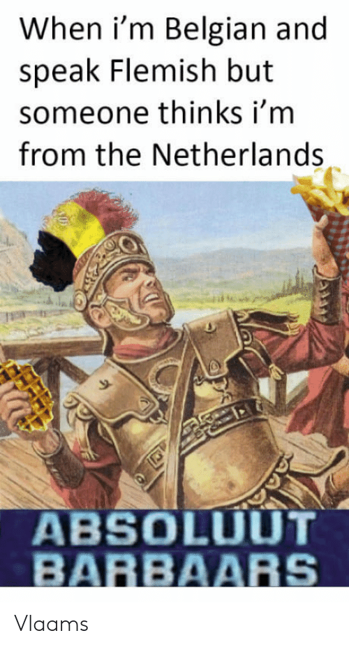 Belgian: When i'm Belgian and  speak Flemish but  someone thinks i'm  from the Netherlands  9-  ABSOLUUT  BARBAARS Vlaams