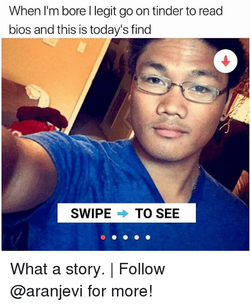 Memes, Tinder, and 🤖: When I'm bore l legit go on tinder toread  bios and this is today's find  SWIPE  TO SEE What a story. | Follow @aranjevi for more!