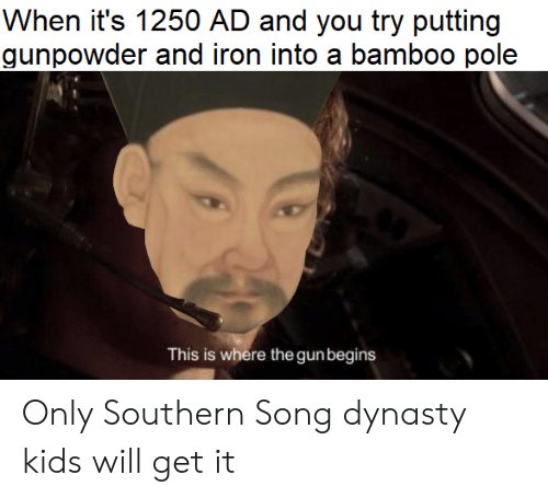 dynasty: When it's 1250 AD and you try putting  gunpowder and iron into a bamboo pole  This is where the gunbegins Only Southern Song dynasty kids will get it