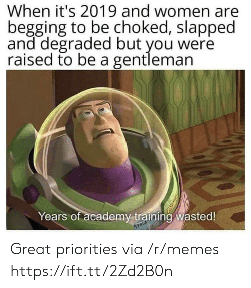 begging: When it's 2019 and women are  begging to be choked, slapped  and degraded but you were  raised to be a gentleman  Years of academy training wasted!  SPACE Great priorities via /r/memes https://ift.tt/2Zd2B0n