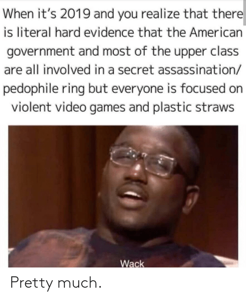 Assassination, Reddit, and Video Games: When it's 2019 and you realize that there  is literal hard evidence that the American  government and most of the upper class  are all involved in a secret assassination/  pedophile ring but everyone is focused on  violent video games and plastic straws  Wack Pretty much.