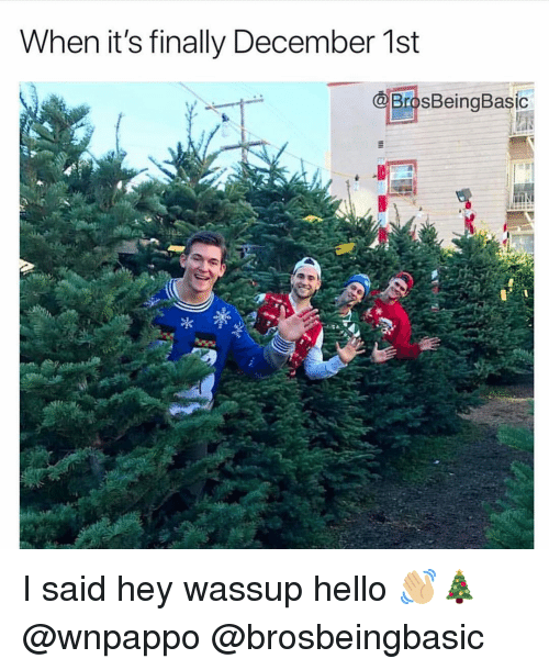Hello, December, and Hey: When it's finally December 1st  BrosBeingBasic I said hey wassup hello 👋🏼🎄 @wnpappo @brosbeingbasic