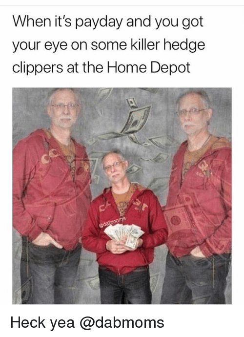 Memes, Clippers, and Home: When it's payday and you got  your eye on some killer hedge  clippers at the Home Depot Heck yea @dabmoms