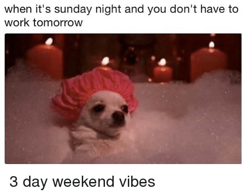 weekender: when it's sunday night and you don't have to  work tomorrow 3 day weekend vibes