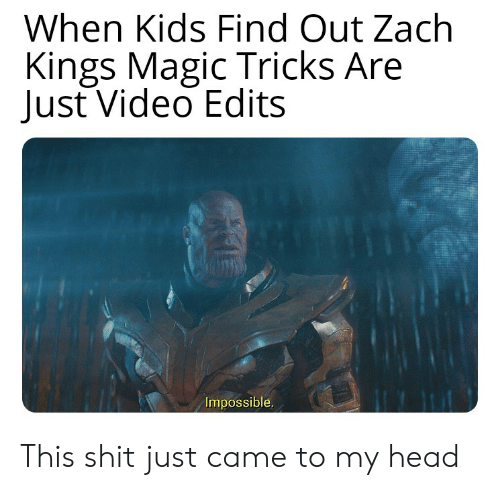 Head, Reddit, and Shit: When Kids Find Out Zach  Kings Magic Tricks Are  Just Video Edits  Impossible. This shit just came to my head