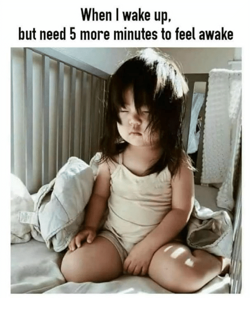 Memes, 🤖, and Awake: When l wake up  but need 5 more minutes to feel awake