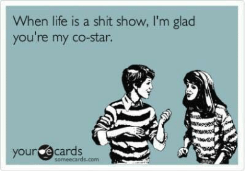 Shit Show: When life is a shit show, I'm glaod  you're my co-star.  your e cards  someecards.com