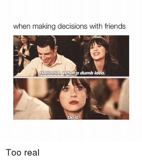 When Making Decisions With Friends Hahaha Whata Dumb Idea Do It Too