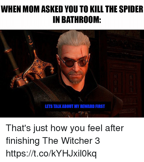 witcher 3: WHEN MOM ASKED YOU TO KILL THE SPIDER  IN BATHROOM:  LETS TALK ABOUT MY REWARD FIRST That's just how you feel after finishing The Witcher 3 https://t.co/kYHJxil0kq