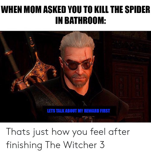 witcher 3: WHEN MOM ASKED YOU TO KILL THE SPIDER  IN BATHROOM:  LETS TALK ABOUT MY REWARD FIRST Thats just how you feel after finishing The Witcher 3