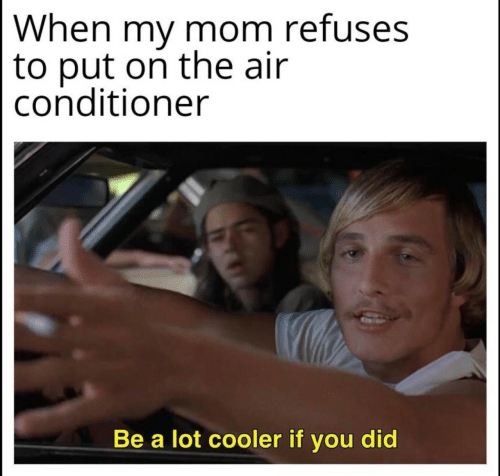 cooler: When my mom refuses  to put on the air  conditioner  Be a lot cooler if you did