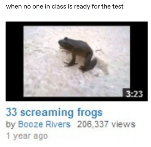 Test, Class, and One: when no one in class is ready for the test  3:23  33 screaming frogs  by Booze Rivers 206,337 views  1 year ago