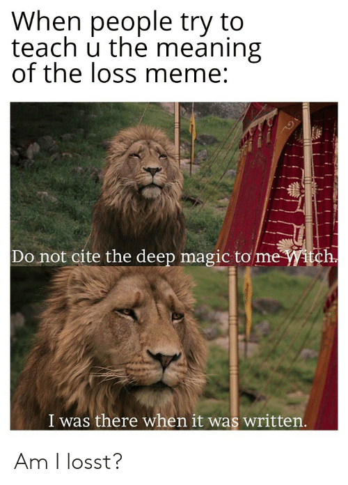 Loss Meme: When people try to  teach u the meaning  of the loss meme:  Do not cite the deep magic tome yitch.  I was there when it was written.  AS Am I losst?