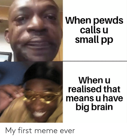 Meme, Brain, and Big: When pewds  calls u  small pp  When u  realised that  means u have  big brain My first meme ever