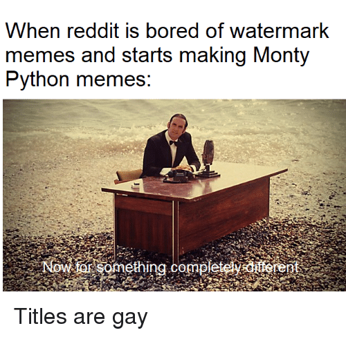 Bored, Memes, and Reddit: When reddit is bored of watermark  memes and starts making Monty  Python memes: Titles are gay
