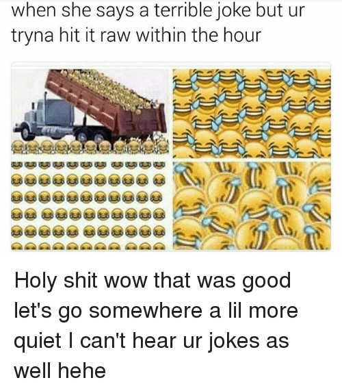 terrible joke: when she says a terrible joke but ur  tryna hit it raw within the hour Holy shit wow that was good let's go somewhere a lil more quiet I can't hear ur jokes as well hehe