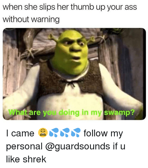 Thumb Up: when she slips her thumb up your ass  without warning  What are you doing in my swamp? I came 😩💦💦💦 follow my personal @guardsounds if u like shrek