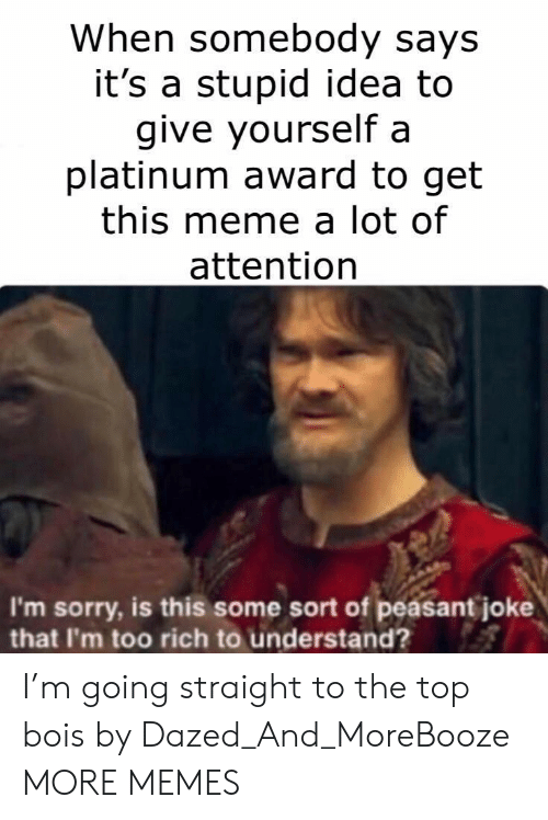 Dank, Meme, and Memes: When somebody says  it's a stupid idea to  give yourself a  platinum award to get  this meme a lot of  attention  I'm sorry, is this some sort of peasant joke  that I'm too rich to understand? I'm going straight to the top bois by Dazed_And_MoreBooze MORE MEMES