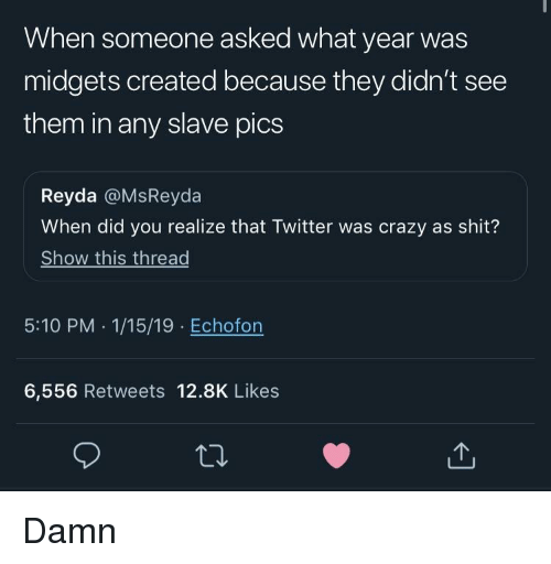 Shit Show: When someone asked what year was  midgets created because they didn't see  them in any slave pics  Reyda @MsReyda  When did you realize that Twitter was crazy as shit?  Show this thread  5:10 PM .1/15/19 Echofon  6,556 Retweets 12.8K Likes Damn