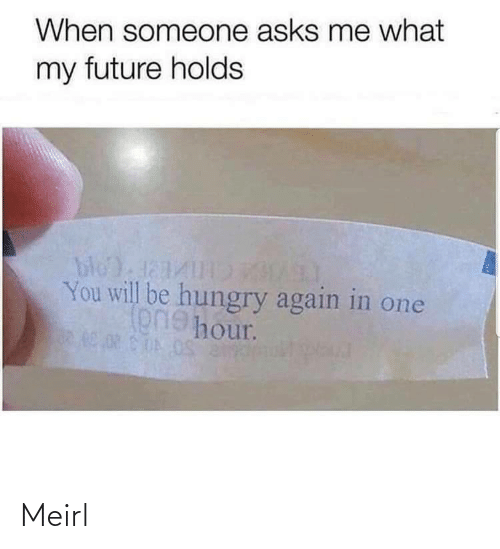 Hungry: When someone asks me what  my future holds  bloda1  You will be hungry again in one  onehour. Meirl