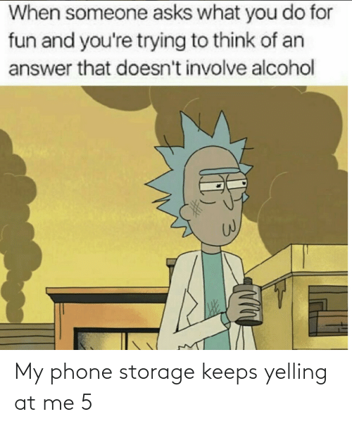 You Do: When someone asks what you do for  fun and you're trying to think of an  answer that doesn't involve alcohol My phone storage keeps yelling at me 5