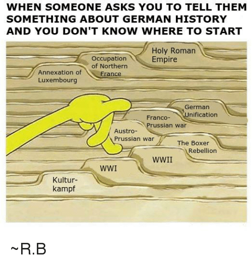 Holy Roman: WHEN SOMEONE ASKS YOU TO TELL THEM  SOMETHING ABOUT GERMAN HISTORY  AND YOU DON'T KNOW WHERE TO START  Holy Roman  Occupation  Empire  of Northern  Annexation of  France  Luxembourg  German  Franco- nification  russian war  Austro  Prussian War  The Boxer  Rebellion  WWI  N  Kultur  kampf ~R.B
