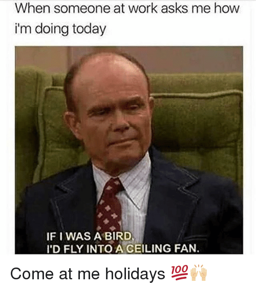 come at me: When someone at work asks me how  i'm doing today  IF I WAS A BIRD  I'D FLY INTO A CEILING FAN. Come at me holidays 💯🙌🏼