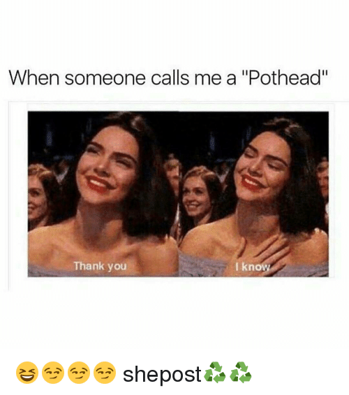 """Memes, 🤖, and Pothead: When someone calls me a """"Pothead""""  Thank you  I kno 😆😏😏😏 shepost♻♻"""