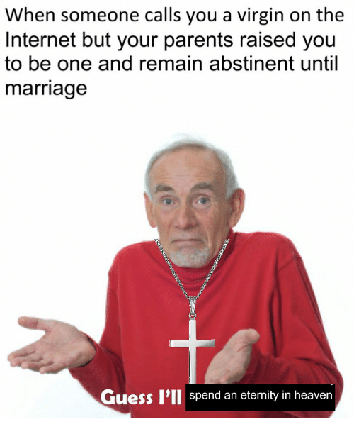 Heaven, Internet, and Marriage: When someone calls you a virgin on the  Internet but your parents raised you  to be one and remain abstinent until  marriage  Guess P'll spend an eternity in heaven