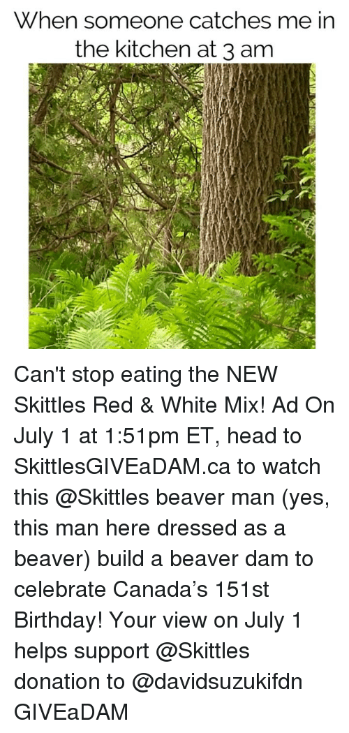 Birthday, Head, and Canada: When someone catches me in  the kitchen at 3 am Can't stop eating the NEW Skittles Red & White Mix! Ad On July 1 at 1:51pm ET, head to SkittlesGIVEaDAM.ca to watch this @Skittles beaver man (yes, this man here dressed as a beaver) build a beaver dam to celebrate Canada's 151st Birthday! Your view on July 1 helps support @Skittles donation to @davidsuzukifdn GIVEaDAM