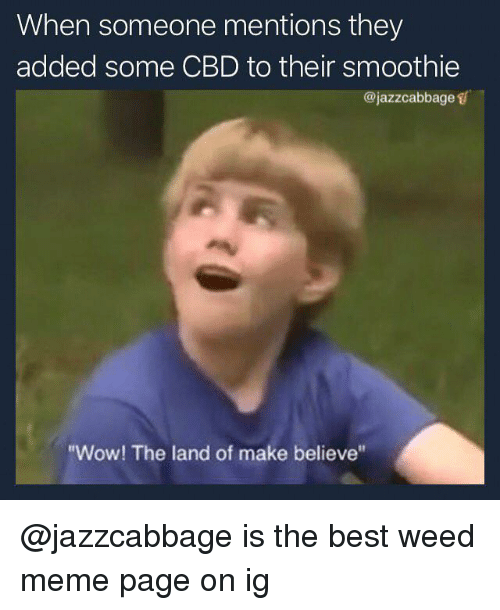 "Meme, Weed, and Wow: When someone mentions they  added some CBD to their smoothie  @jazzcabbage s  ""Wow! The land of make believe @jazzcabbage is the best weed meme page on ig"