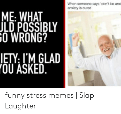 Funny Stress Memes: When someone says 'don't be anxo  aroxiety is cured  ME WHAT  JLD POSSIBLY  O WRONG?  RELA  ETY: I'M GLAD  OU ASKED funny stress memes | Slap Laughter