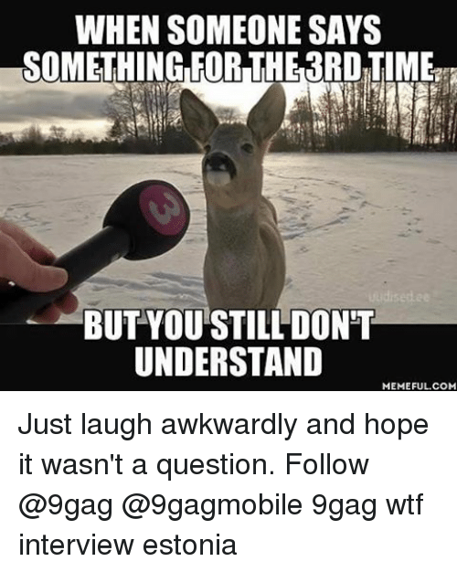 Dont Understand Meme: WHEN SOMEONE SAYS  SOMETHING FOR THE3RDTIME  BUT YOU STILL DON'T  UNDERSTAND  MEMEFUL COM Just laugh awkwardly and hope it wasn't a question. Follow @9gag @9gagmobile 9gag wtf interview estonia