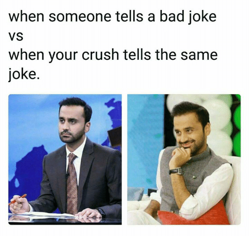 A Bad Joke: when someone tells a bad joke  VS  when your crush tells the same  joke.
