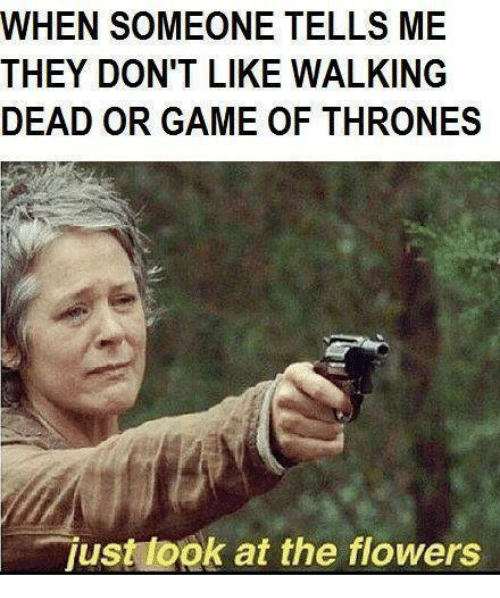 just look at the flowers: WHEN SOMEONE TELLS ME  THEY DON'T LIKE WALKING  DEAD OR GAME OF THRONES  just look at the flowers