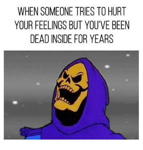 Memes, Been, and 🤖: WHEN SOMEONE TRIES TO HURT  YOUR FEELINGS BUT YOU'VE BEEN  DEAD INSIDE FOR YEARS