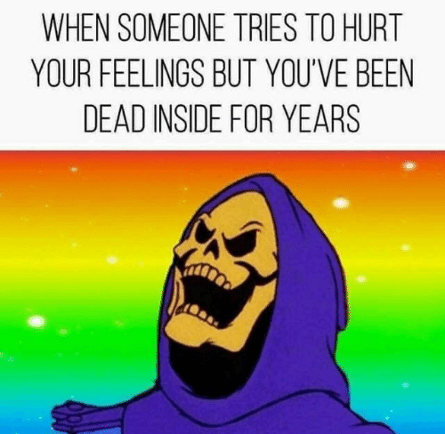 Youve Been: WHEN SOMEONE TRIES TO HURT  YOUR FEELINGS BUT YOU'VE BEEN  DEAD INSIDE FOR YEARS