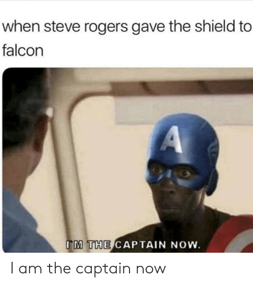 The Shield, Shield, and Falcon: when steve rogers gave the shield to  falcon  A  IM THE CAPTAIN NOW. I am the captain now